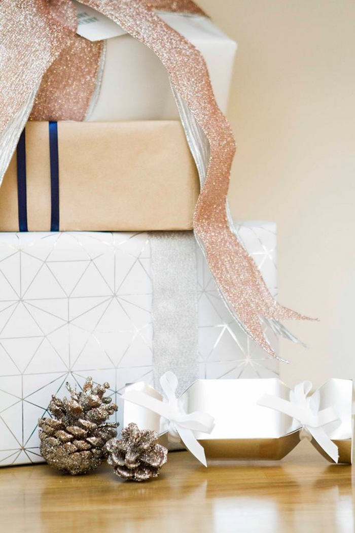 Wrapped gifts from a Nordic Luxe Christmas Party on Kara's Party Ideas | KarasPartyIdeas.com (12)