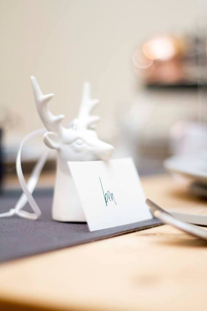 Buck place card from a Nordic Luxe Christmas Party on Kara's Party Ideas | KarasPartyIdeas.com (8)