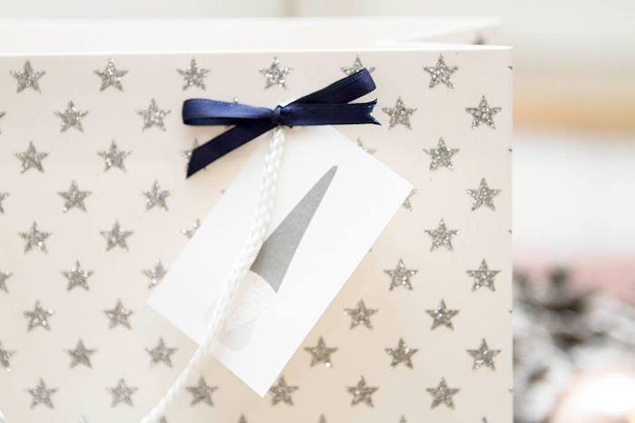 Wrapped gift from a Nordic Luxe Christmas Party on Kara's Party Ideas | KarasPartyIdeas.com (25)