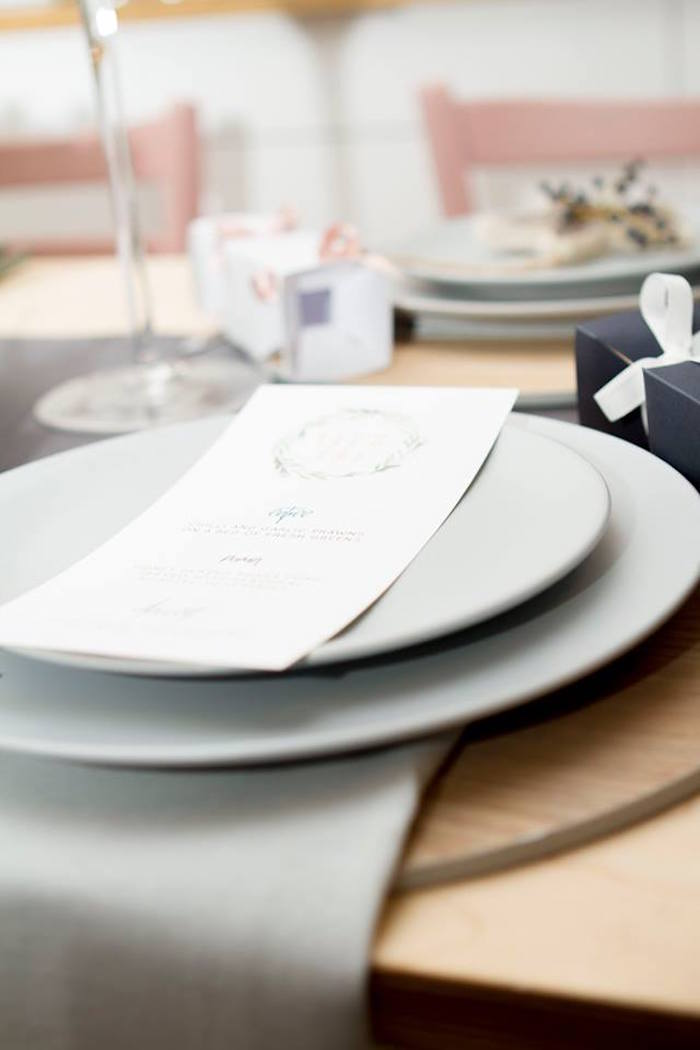 Place setting from a Nordic Luxe Christmas Party on Kara's Party Ideas | KarasPartyIdeas.com (17)