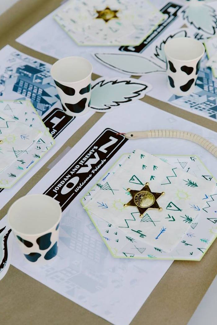 Place setting from an Old Western Town Birthday Party on Kara's Party Ideas | KarasPartyIdeas.com (13)