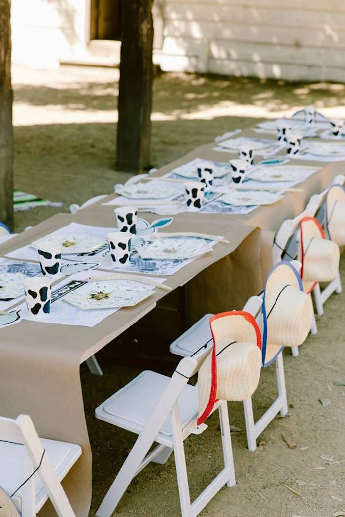 Guest table from an Old Western Town Birthday Party on Kara's Party Ideas | KarasPartyIdeas.com (12)