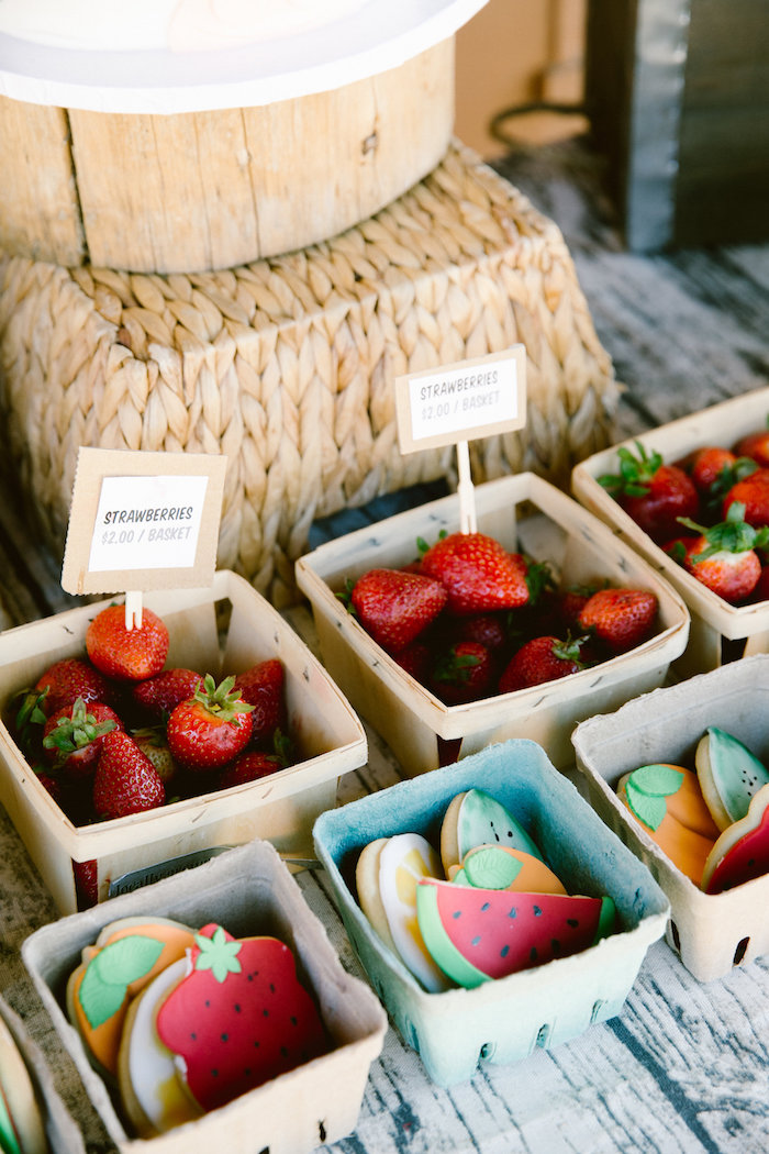 Berry baskets of cookies and strawberries from an Old Western Town Birthday Party on Kara's Party Ideas | KarasPartyIdeas.com (7)
