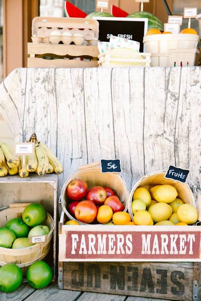 Farmers Market Spread from an Old Western Town Birthday Party on Kara's Party Ideas | KarasPartyIdeas.com (27)