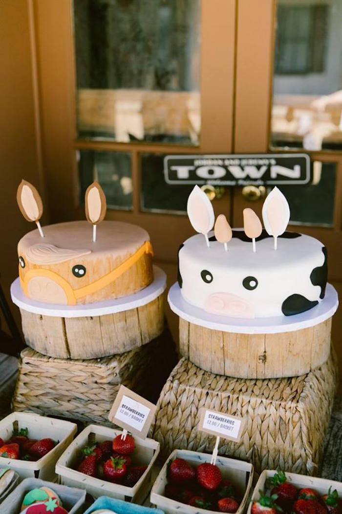 Horse and cow cakes from an Old Western Town Birthday Party on Kara's Party Ideas | KarasPartyIdeas.com (25)