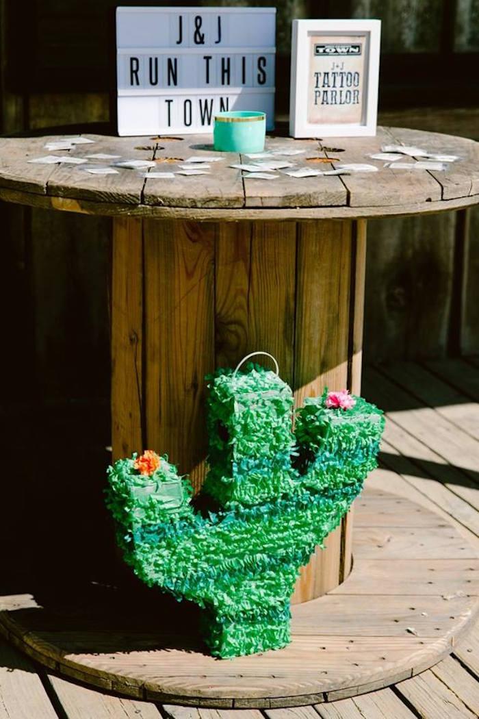 Spool table from an Old Western Town Birthday Party on Kara's Party Ideas | KarasPartyIdeas.com (24)