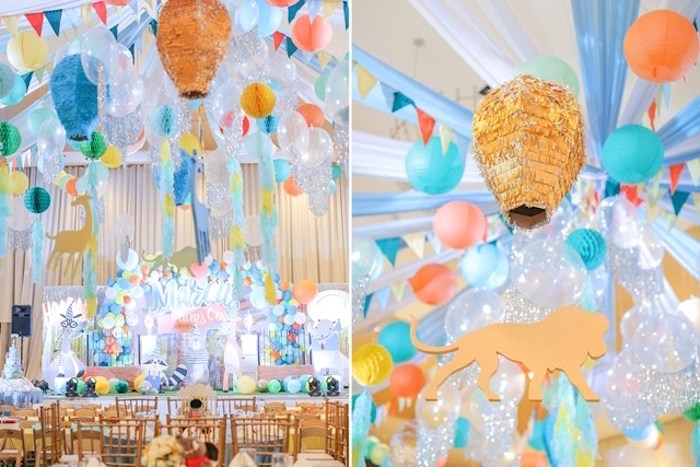Balloon chandelier + decor from a Party Animal + Zoo Themed Birthday Party on Kara's Party Ideas | KarasPartyIdeas.com (16)