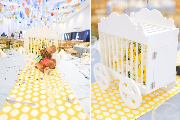Train cage centerpiece from a Party Animal + Zoo Themed Birthday Party on Kara's Party Ideas | KarasPartyIdeas.com (14)