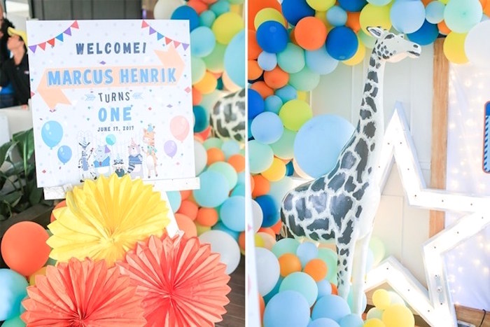Welcome sign + decor from a Party Animal + Zoo Themed Birthday Party on Kara's Party Ideas | KarasPartyIdeas.com (13)