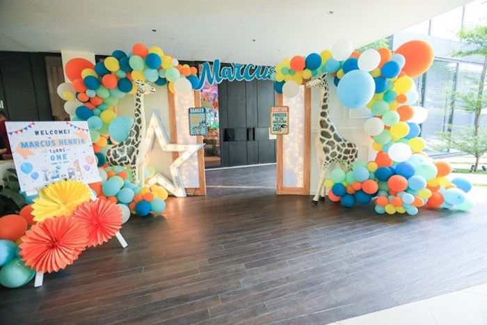 Balloon entrance from a Party Animal + Zoo Themed Birthday Party on Kara's Party Ideas | KarasPartyIdeas.com (10)
