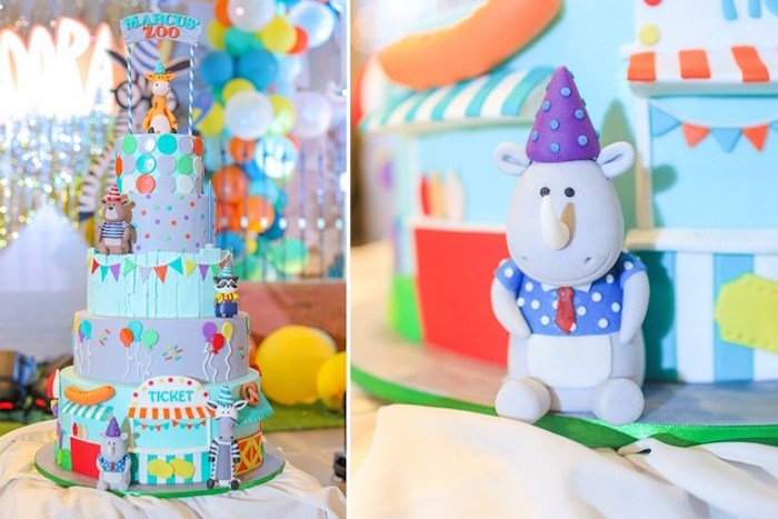 Cake from a Party Animal + Zoo Themed Birthday Party on Kara's Party Ideas | KarasPartyIdeas.com (9)
