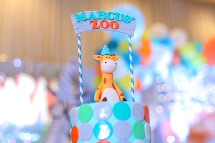 Cake top from a Party Animal + Zoo Themed Birthday Party on Kara's Party Ideas | KarasPartyIdeas.com (8)
