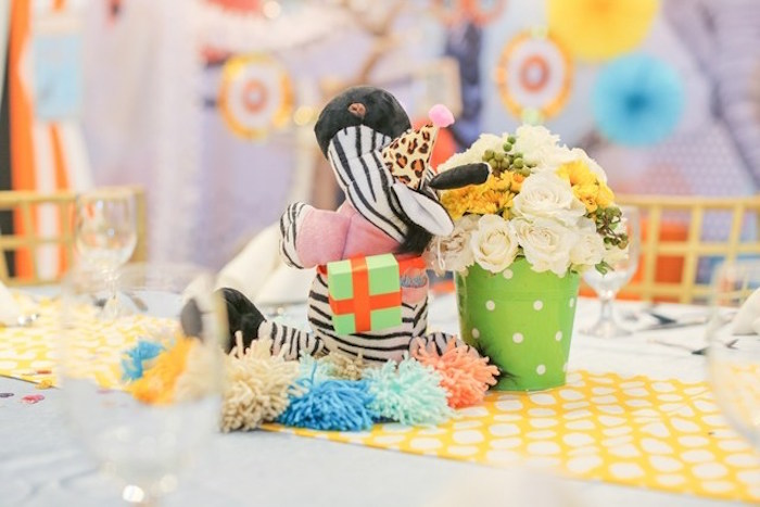Table centerpiece from a Party Animal + Zoo Themed Birthday Party on Kara's Party Ideas | KarasPartyIdeas.com (26)