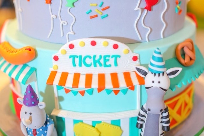 Cake detail from a Party Animal + Zoo Themed Birthday Party on Kara's Party Ideas | KarasPartyIdeas.com (7)