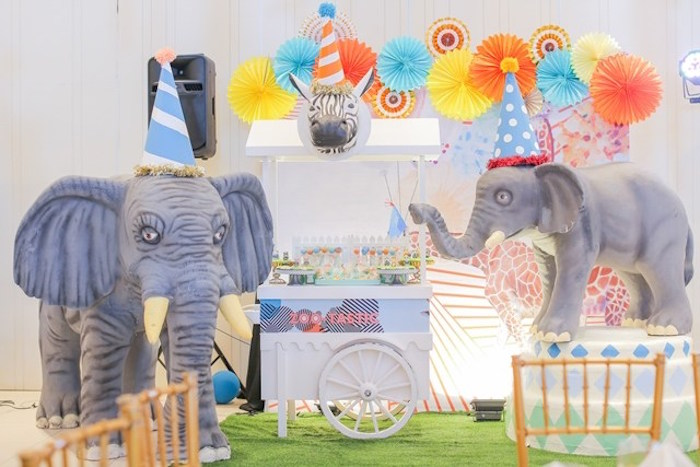 Elephant dessert spread from a Party Animal + Zoo Themed Birthday Party on Kara's Party Ideas | KarasPartyIdeas.com (25)