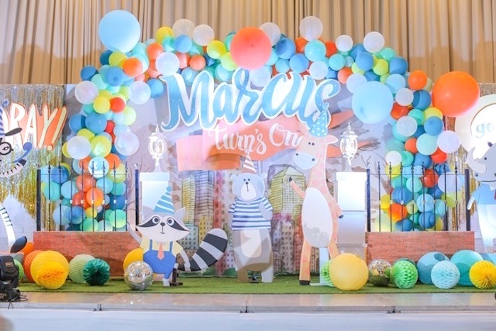 Backdrop + stage from a Party Animal + Zoo Themed Birthday Party on Kara's Party Ideas | KarasPartyIdeas.com (21)