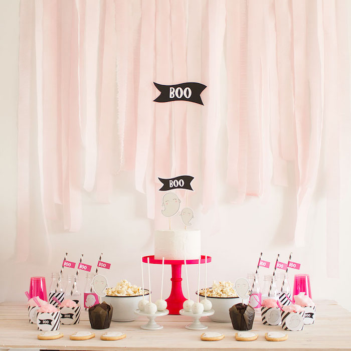 "Pink & Black ""Boo!"" Halloween Party on Kara's Party Ideas 