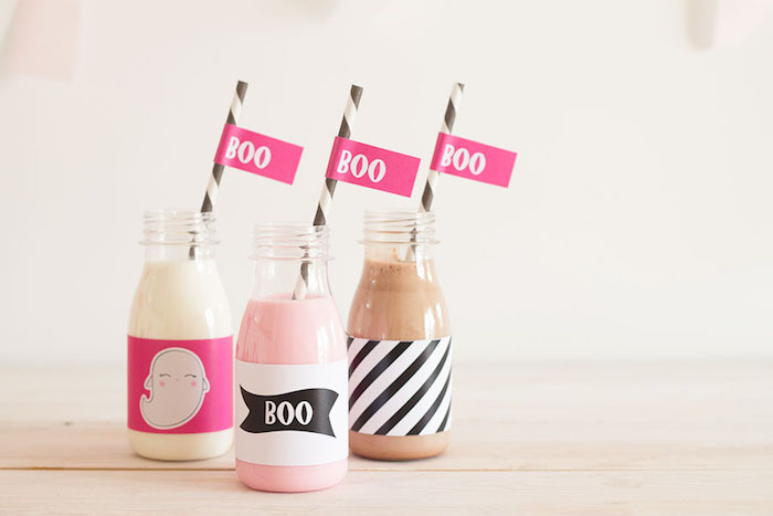 "Boo milk bottles from a Pink & Black ""Boo!"" Halloween Party on Kara's Party Ideas 