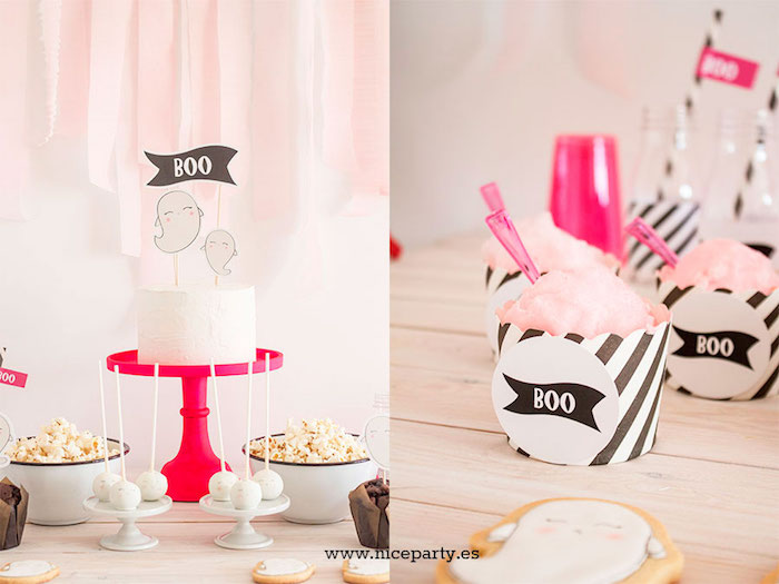 """Cake and cotton candy cups from a Pink & Black """"Boo!"""" Halloween Party on Kara's Party Ideas 