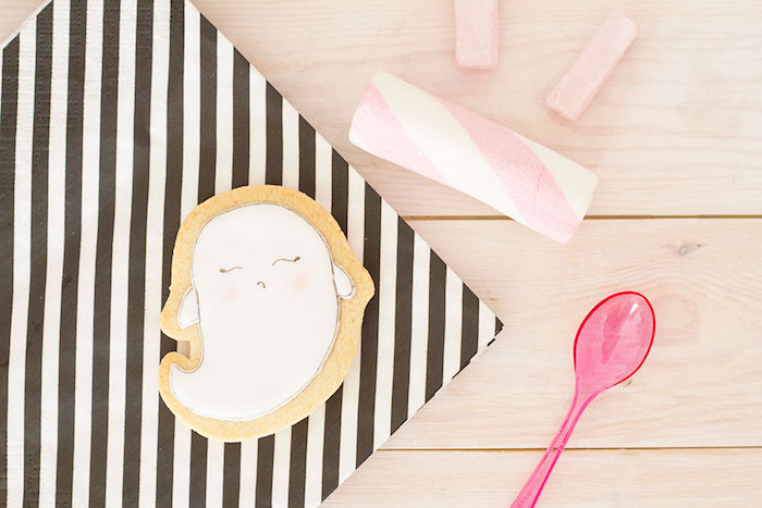"""Ghost cookie from a Pink & Black """"Boo!"""" Halloween Party on Kara's Party Ideas 