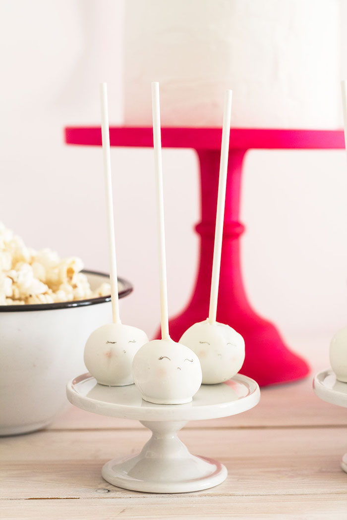 """Ghost cake pops from a Pink & Black """"Boo!"""" Halloween Party on Kara's Party Ideas 