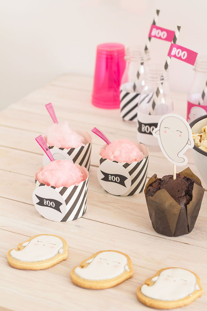 "Ghost cookies and cotton candy cups from a Pink & Black ""Boo!"" Halloween Party on Kara's Party Ideas 