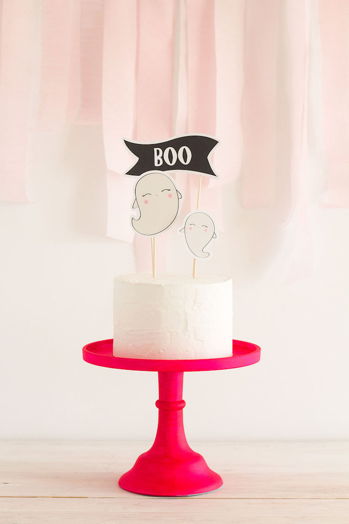"Ghost cake from a Pink & Black ""Boo!"" Halloween Party on Kara's Party Ideas 