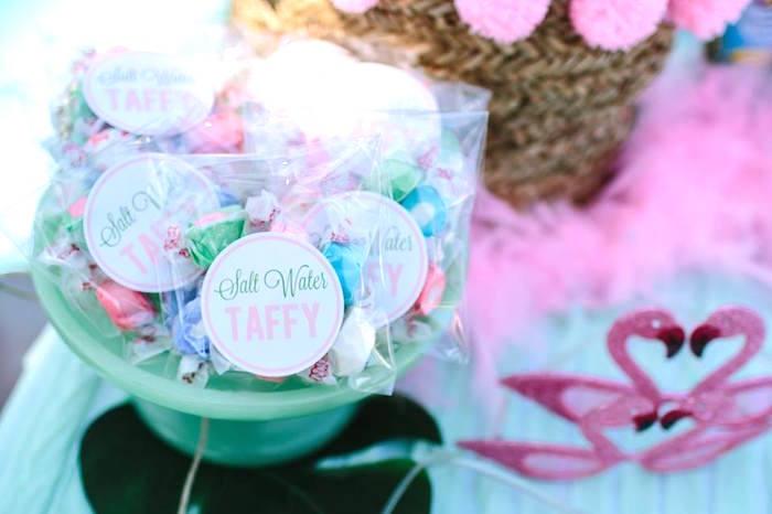 Salt Water Taffy from a Pink Flora Flamingo Birthday Party on Kara's Party Ideas | KarasPartyIdeas.com (12)