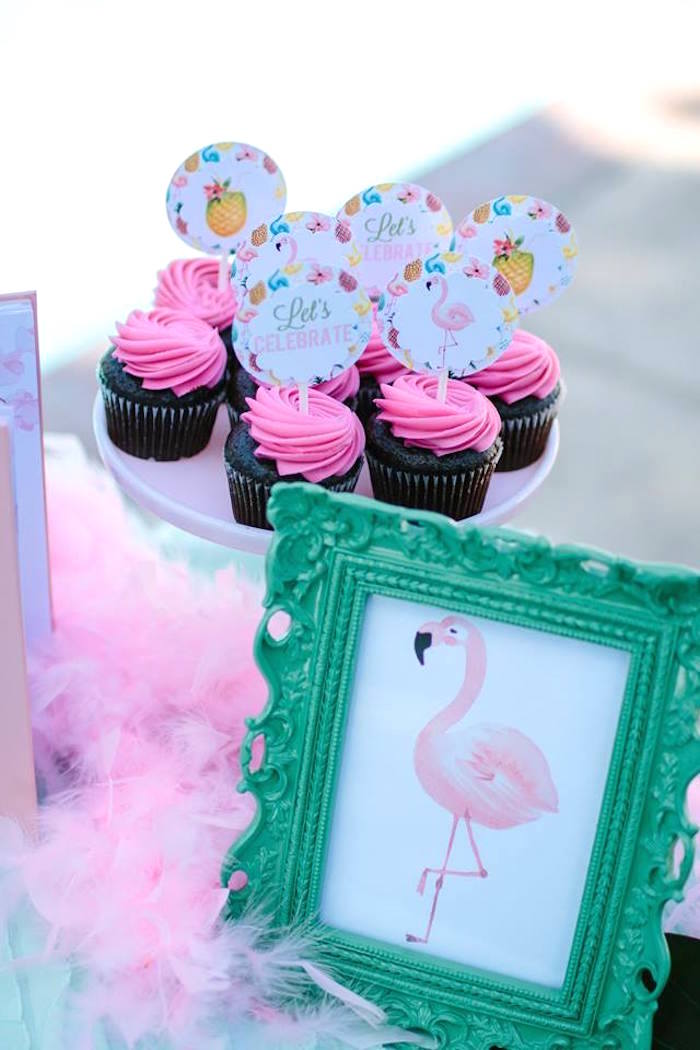 Pink-iced chocolate cupcakes from a Pink Flora Flamingo Birthday Party on Kara's Party Ideas | KarasPartyIdeas.com (11)