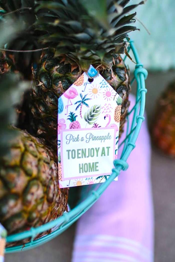 Tropical favor tag from a Pink Flora Flamingo Birthday Party on Kara's Party Ideas | KarasPartyIdeas.com (10)