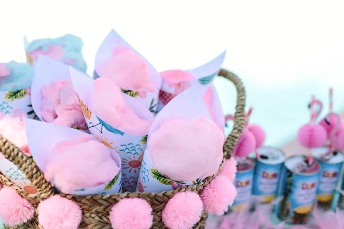Cotton candy cones from a Pink Flora Flamingo Birthday Party on Kara's Party Ideas | KarasPartyIdeas.com (9)