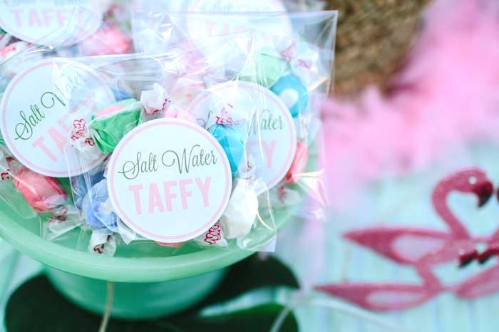 Salt Water Taffy from a Pink Flora Flamingo Birthday Party on Kara's Party Ideas | KarasPartyIdeas.com (8)