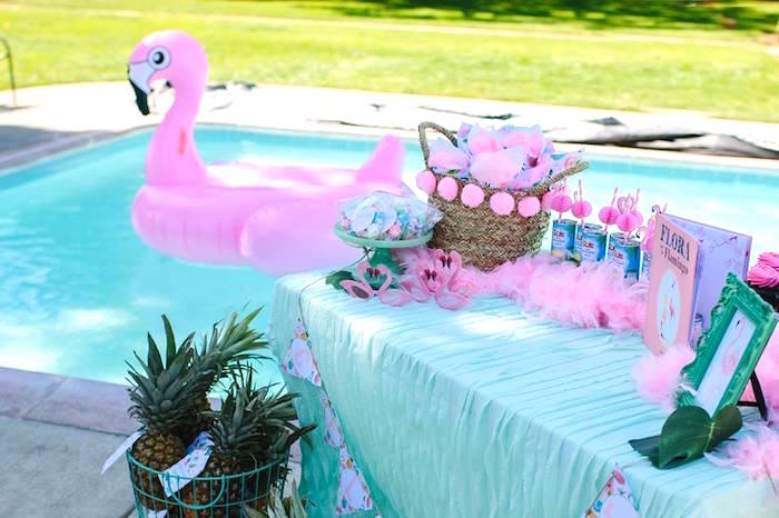 Flamingo party table from a Pink Flora Flamingo Birthday Party on Kara's Party Ideas | KarasPartyIdeas.com (7)