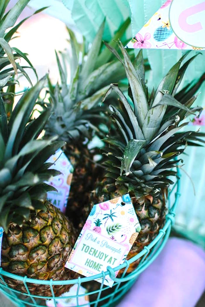 Pineapple favors from a Pink Flora Flamingo Birthday Party on Kara's Party Ideas | KarasPartyIdeas.com (4)