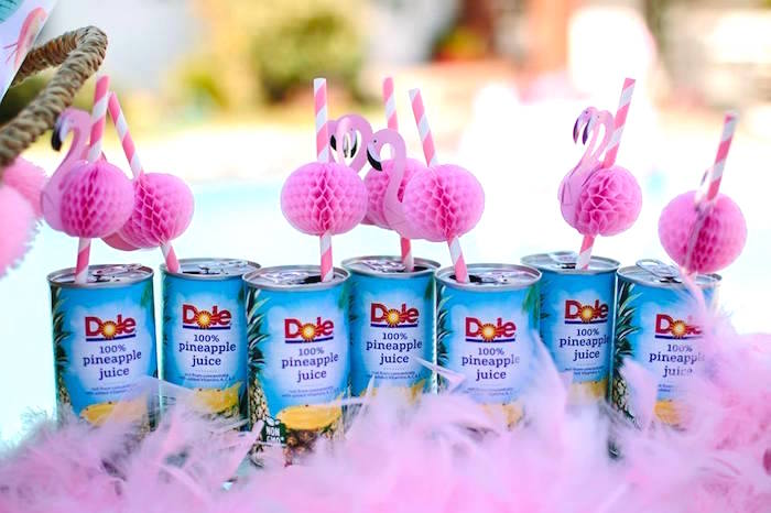 Tropical Dole drinks with flamingo straws from a Pink Flora Flamingo Birthday Party on Kara's Party Ideas | KarasPartyIdeas.com (20)