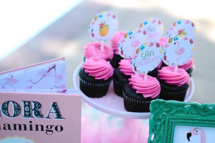 Cupcakes from a Pink Flora Flamingo Birthday Party on Kara's Party Ideas | KarasPartyIdeas.com (17)
