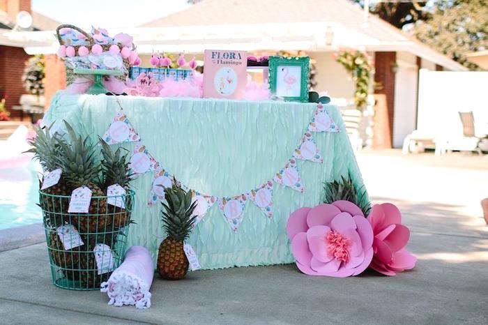 Flamingo party table from a Pink Flora Flamingo Birthday Party on Kara's Party Ideas | KarasPartyIdeas.com (16)