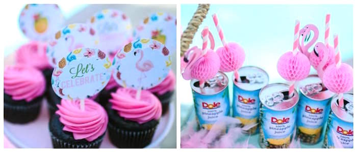 Cupcakes and Dole drinks from a Pink Flora Flamingo Birthday Party on Kara's Party Ideas | KarasPartyIdeas.com (14)