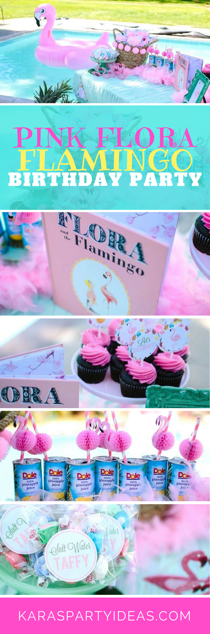 Pink Flora Flamingo Birthday Party via Kara's Party Ideas - KarasPartyIdeas.com