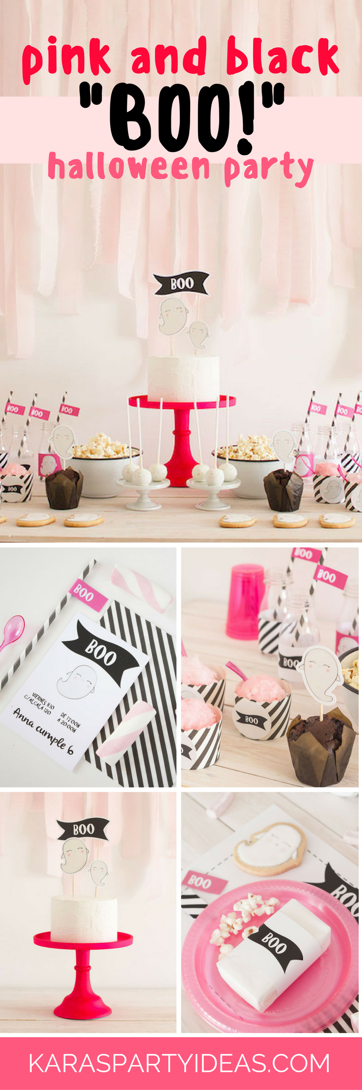 Pink and Black Boo Halloween Party via Kara's Party Ideas - KarasPartyIdeas.com
