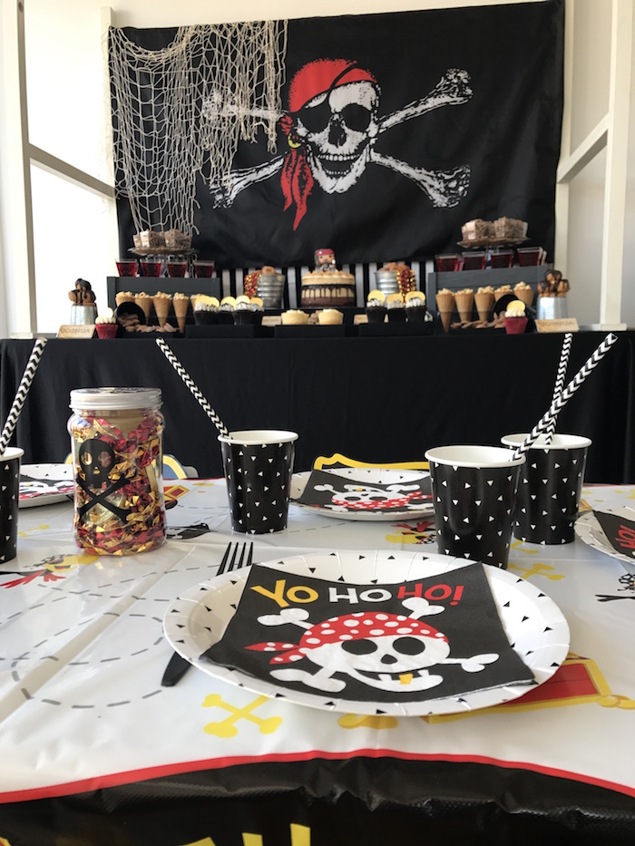 Guest table from a Pirate Birthday Party on Kara's Party Ideas | KarasPartyIdeas.com (29)