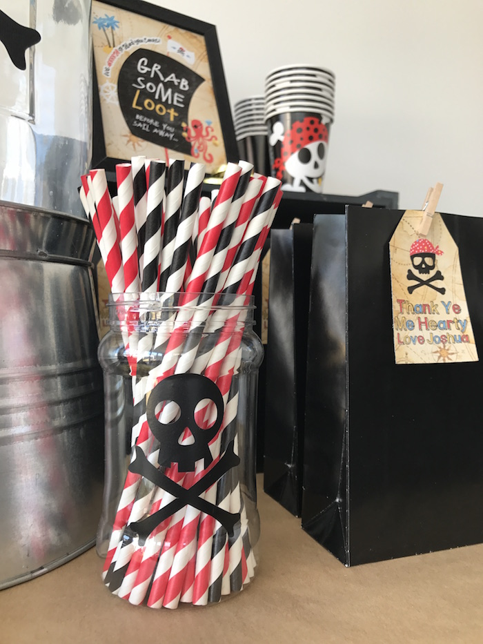 Paper straws from a Pirate Birthday Party on Kara's Party Ideas | KarasPartyIdeas.com (23)