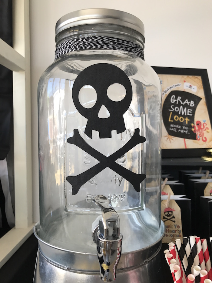 Crossbones beverage dispenser from a Pirate Birthday Party on Kara's Party Ideas | KarasPartyIdeas.com (22)