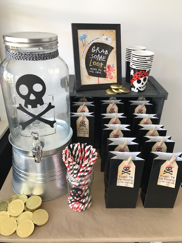 Beverage bar from a Pirate Birthday Party on Kara's Party Ideas | KarasPartyIdeas.com (21)