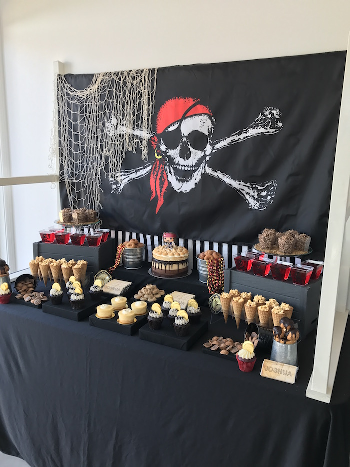 Dessert tablescape from a Pirate Birthday Party on Kara's Party Ideas | KarasPartyIdeas.com (10)