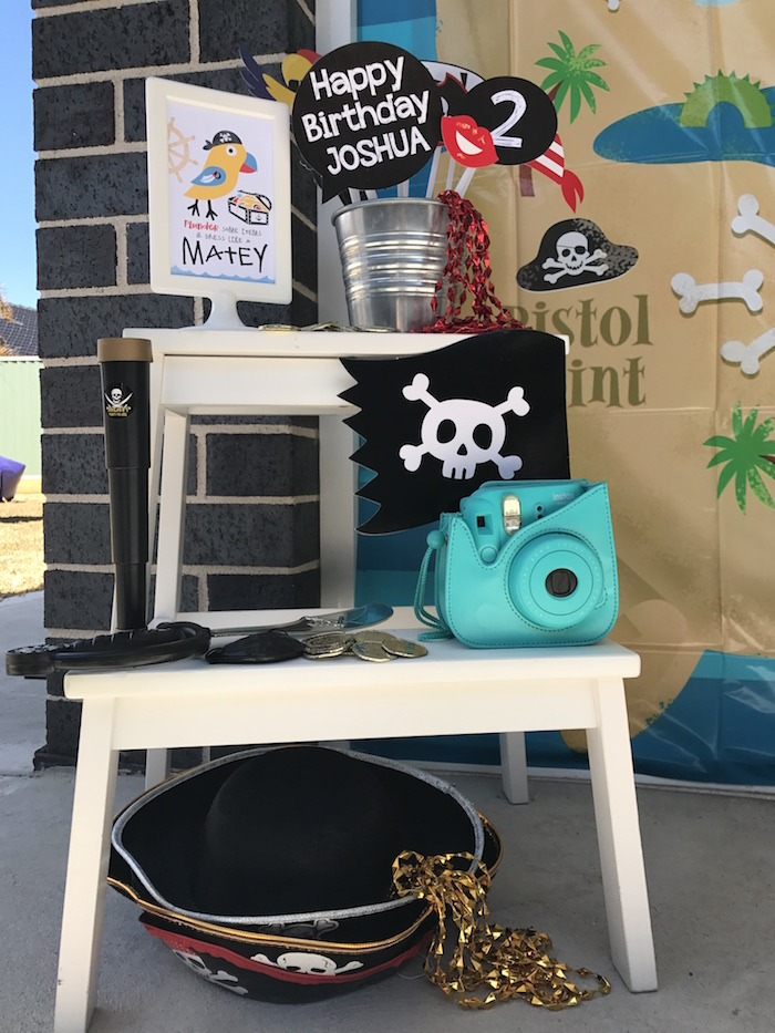 Photo booth from a Pirate Birthday Party on Kara's Party Ideas | KarasPartyIdeas.com (32)