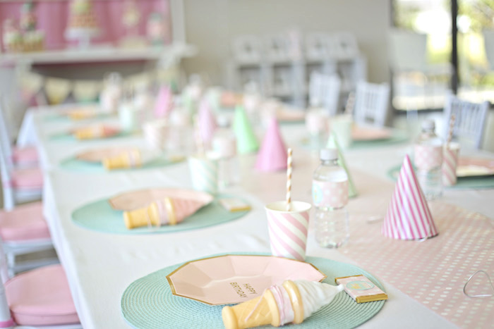 Guest table from a Pretty Pastel Ice Cream Party on Kara's Party Ideas | KarasPartyIdeas.com (9)