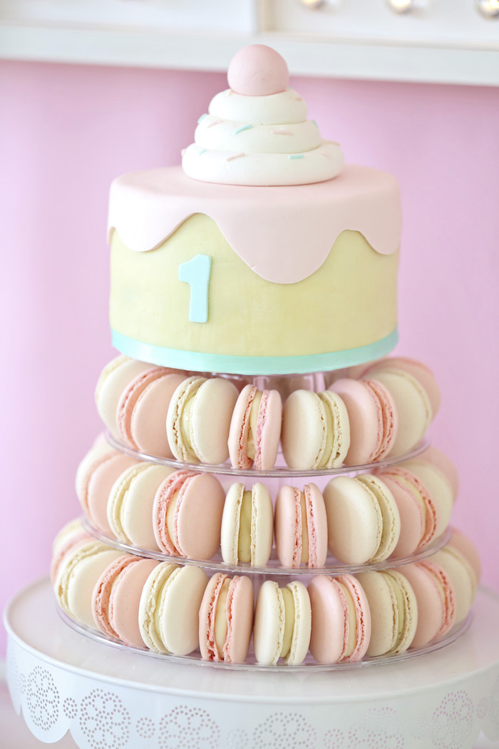 Macaron tower ice cream cake from a Pretty Pastel Ice Cream Party on Kara's Party Ideas | KarasPartyIdeas.com (14)