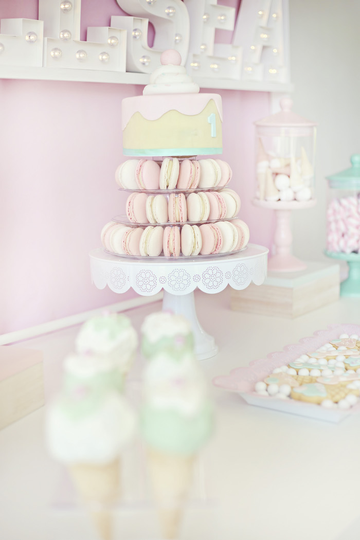 Macaron tower ice cream cake from a Pretty Pastel Ice Cream Party on Kara's Party Ideas | KarasPartyIdeas.com (11)