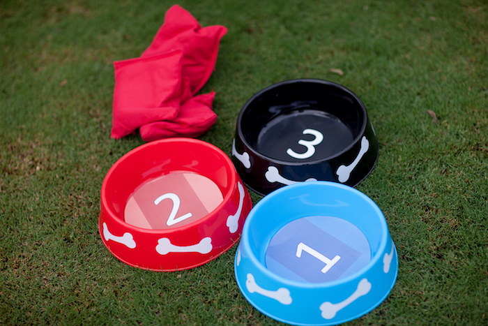 Bing Bag Dog Bowl Toss from a Puppy PAW-ty on Kara's Party Ideas | KarasPartyIdeas.com (19)